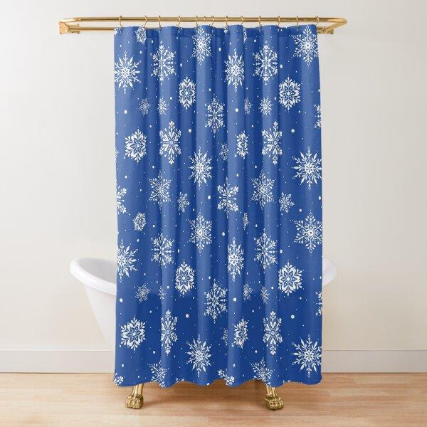 Christmas Folk Snowflakes2 Blue Shower Curtain