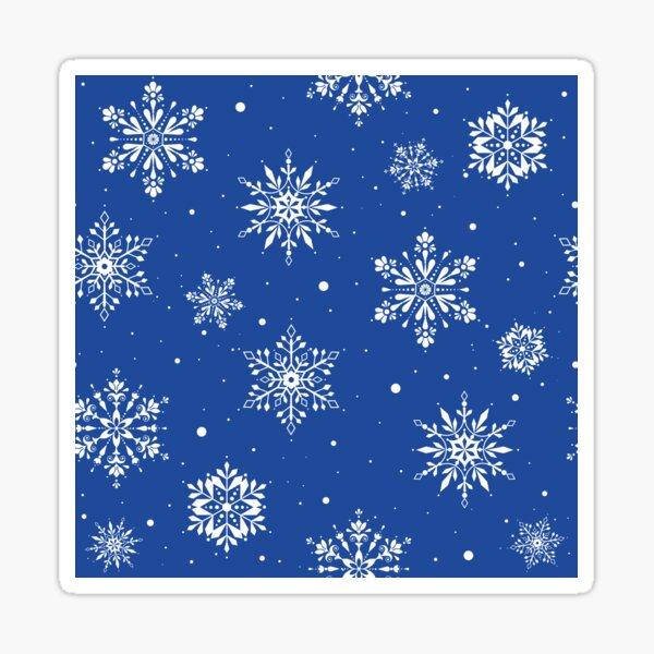 Christmas Folk Snowflakes2 Blue Sticker