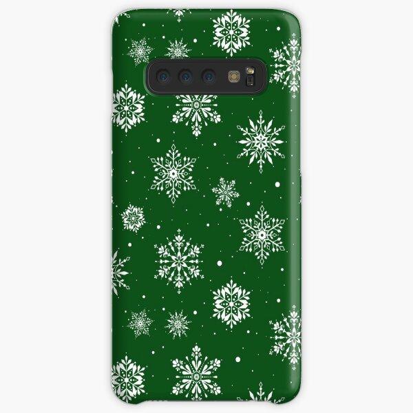 Christmas Folk Snowflakes2 Green Samsung Galaxy Snap Case