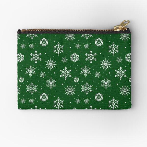 Christmas Folk Snowflakes2 Green Zipper Pouch