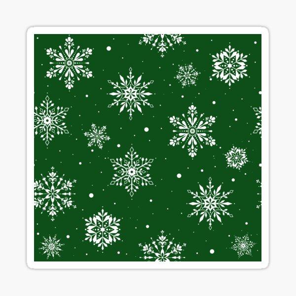 Christmas Folk Snowflakes2 Green Sticker