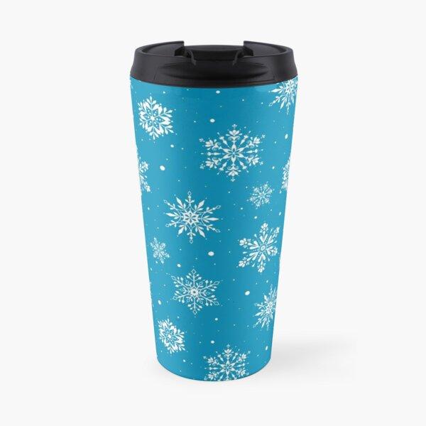 Christmas Folk Snowflakes2 Ice Blue Travel Mug