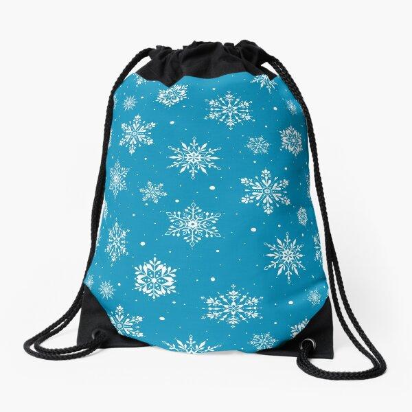 Christmas Folk Snowflakes2 Ice Blue Drawstring Bag