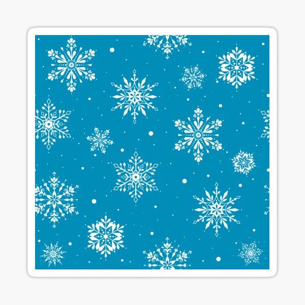 Christmas Folk Snowflakes2 Ice Blue Sticker