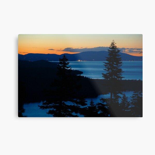 Lake Tahoe Sunset and View of North Shore Metal Print