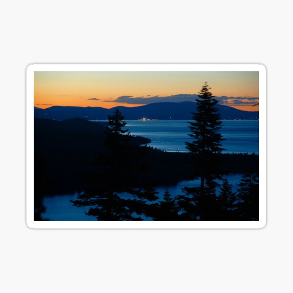 Lake Tahoe Sunset and View of North Shore Sticker