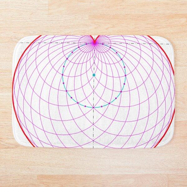 Sphere, circle, symmetry, diagram, parallel, design, shape, abstract Bath Mat