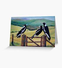 Magpies Meeting Greeting Card