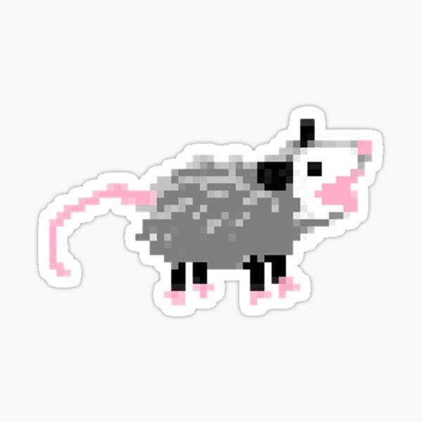 Screaming Pixel Opossum Sticker