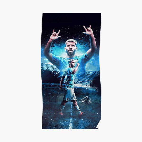 watercolour gifts posters footballer poster prints gift Sergio Aguero