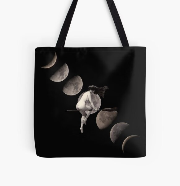 Moon Phases with Flying Vintage Witch All Over Print Tote Bag