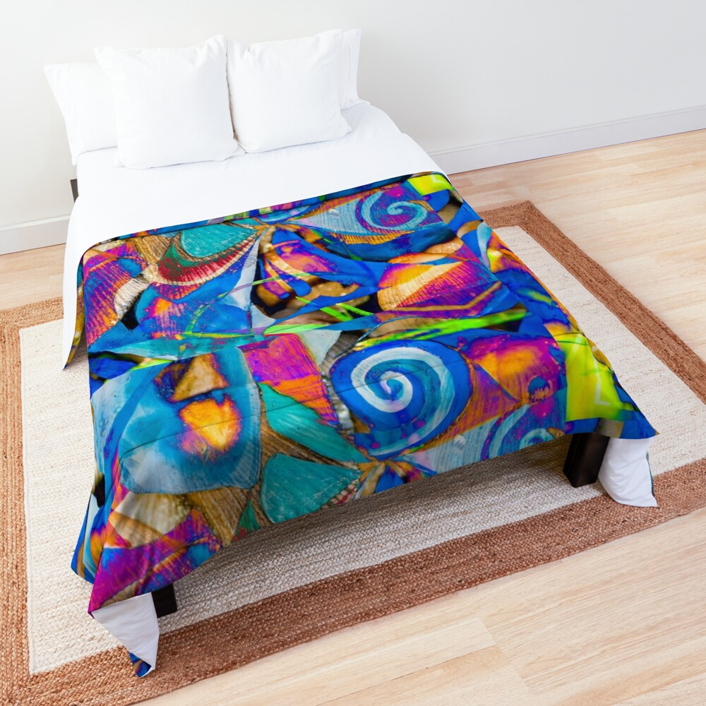 bright colors shapes abstraction Comforter