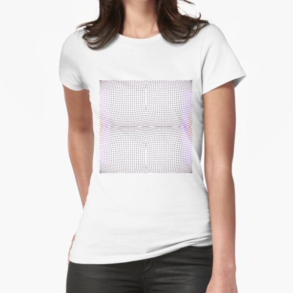 Grid, net, pattern, design, gradation, metallic, abstract, weaving, tile, fiber, halftone, repetition, spotted, textile, backgrounds, textured, geometric shape, square Fitted T-Shirt