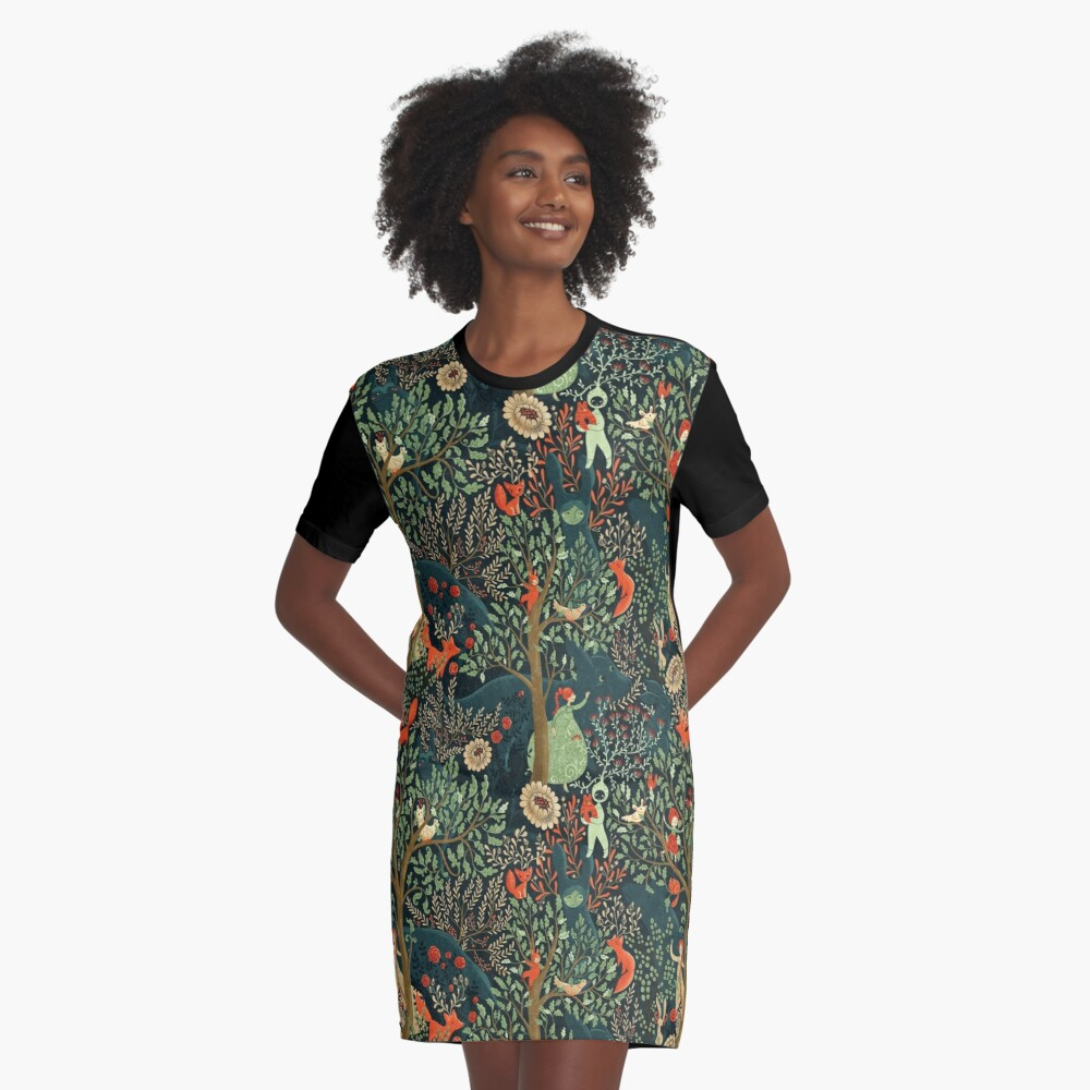 Whimsical Wonderland Graphic T-Shirt Dress