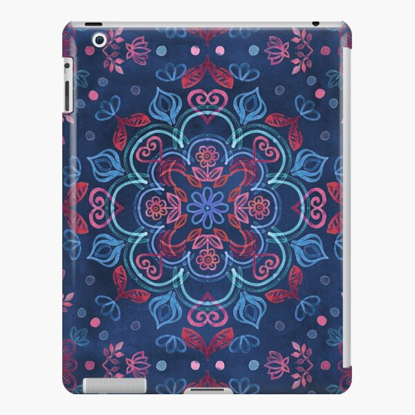 Cherry Red & Navy Blue Watercolor Floral Pattern iPad Snap Case