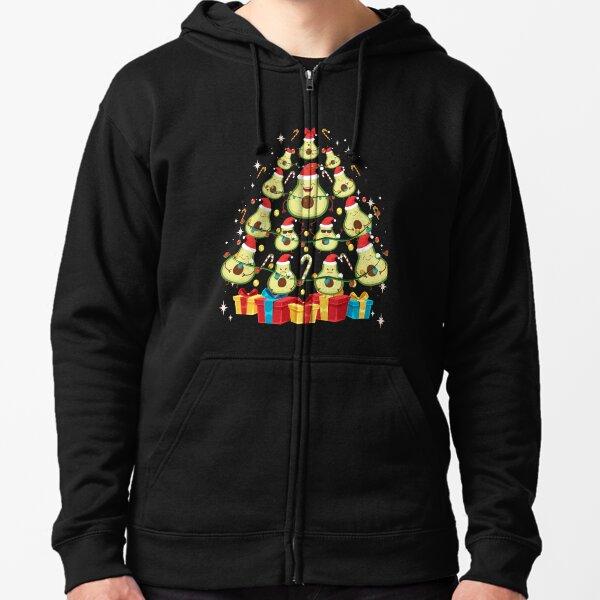 Avocado Plant Based Christmas Tree - Avocado Lover Christmas Zipped Hoodie