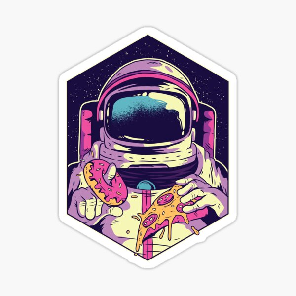 Astronaut eating donut and pizza Sticker