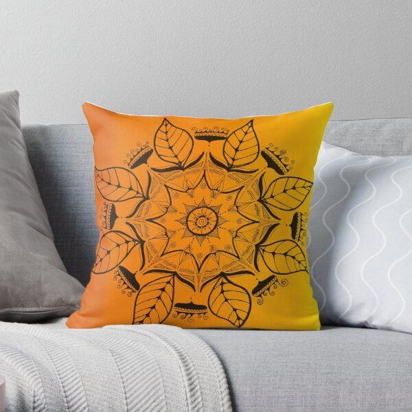 very beautiful hand painted mandala, orange Throw Pillow