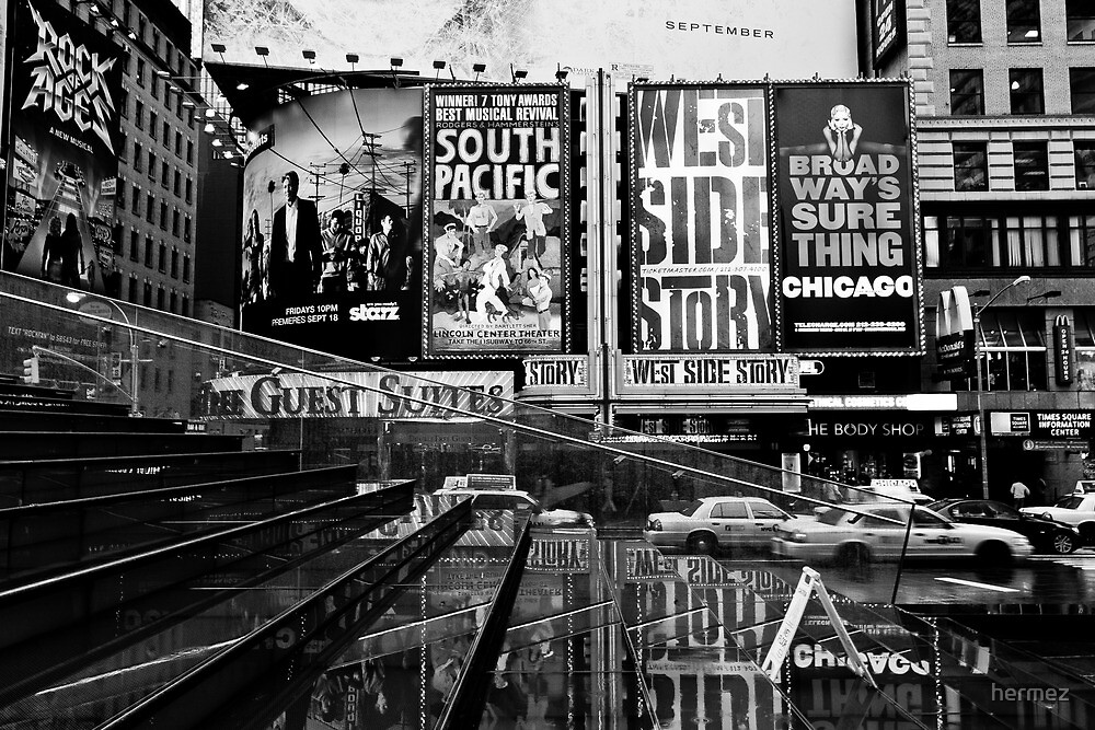 NYC - Times Square Reversed in B/W by hermez