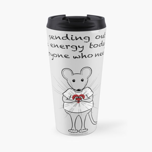 MantraMouse® Sending Out Love Cartoon on Gray Background Travel Mug