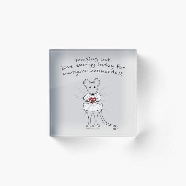 MantraMouse® Sending Out Love Cartoon on Gray Background Acrylic Block