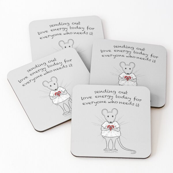 MantraMouse® Sending Out Love Cartoon on Gray Background Coasters (Set of 4)