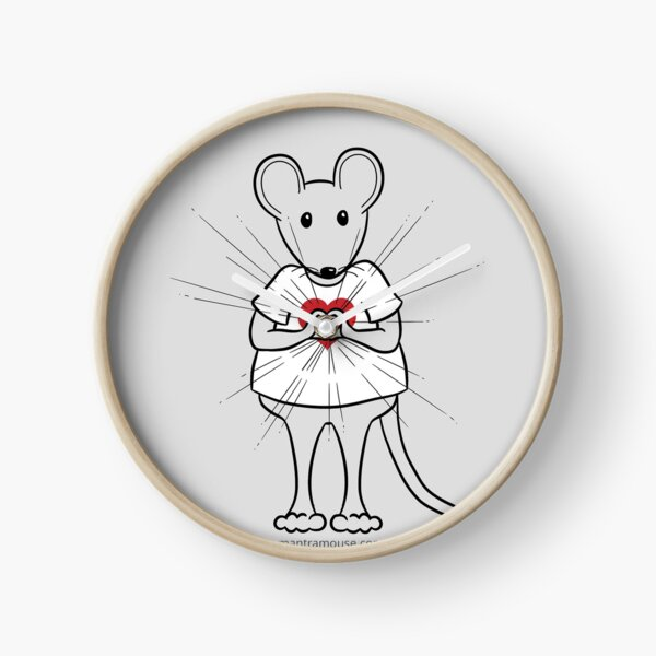 MantraMouse® Sending Out Love Cartoon on Gray Background Clock