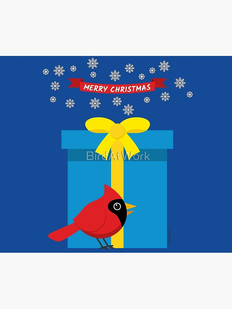Cute Red Cardinal With Blue Gift by BirdAtWork