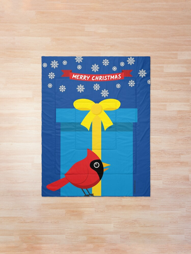 Alternate view of Cute Red Cardinal With Blue Gift Comforter