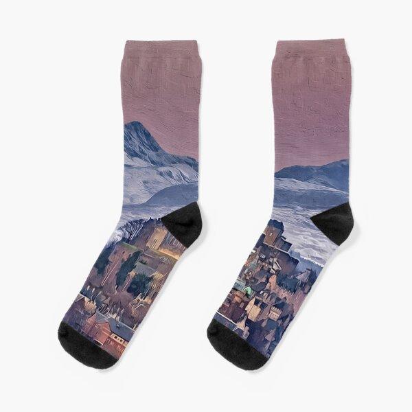 Digital Ocean Beach At Sunset Art Athletic Unisex Classics High Socks Sport Sock