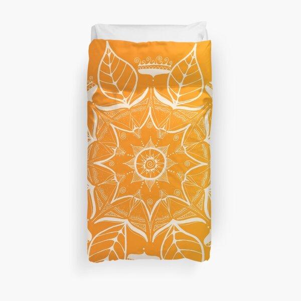enchanting mandala, hand painted in white Duvet Cover