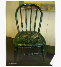 Antique Child's Chair with Quilt Poster