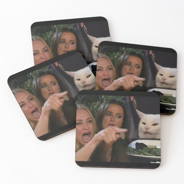Woman Yelling at a Cat Coasters (Set of 4)