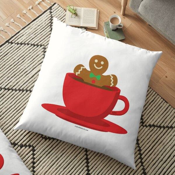 Gingerbread Man Relaxing In A Hot Chocolate Red Cup Floor Pillow