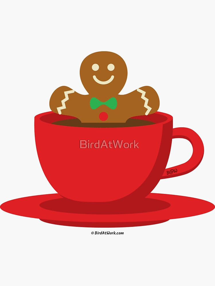 Gingerbread Man Relaxing In A Hot Chocolate Red Cup by BirdAtWork