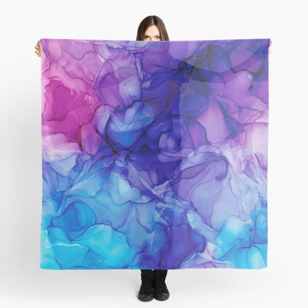 Purple, Pink, and Blue Abstract: Original Alcohol Ink Painting Scarf