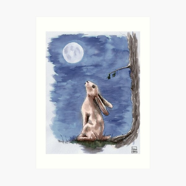 Hare gazed up at the Moon Art Print