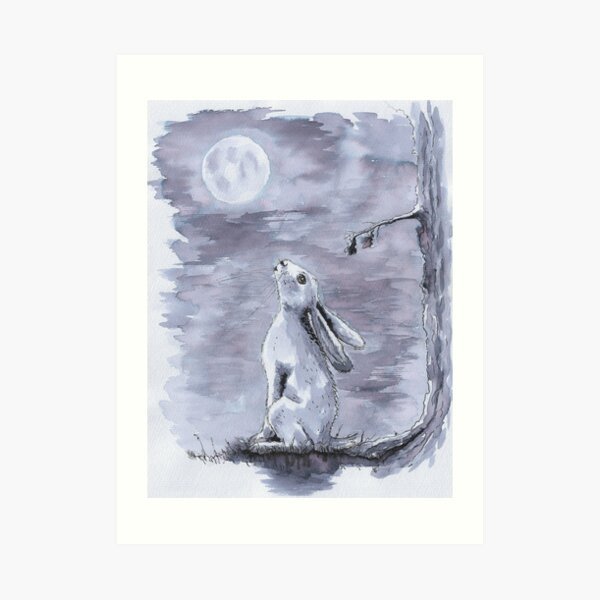 Hare gazed up at the Moon - monochrome Art Print