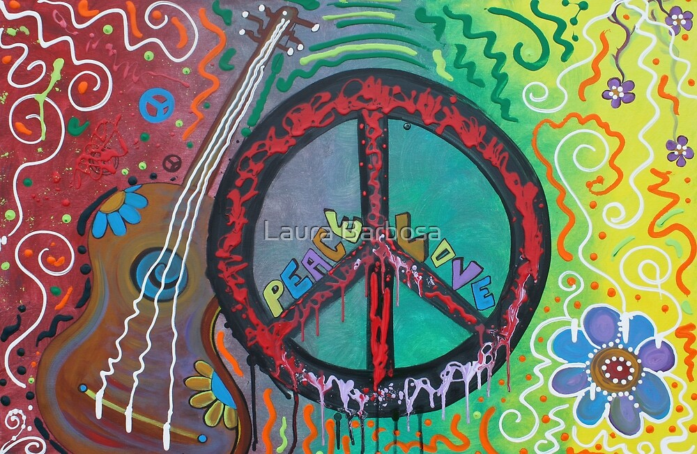 """Peace and Love Original Hippie Art"" by Laura Barbosa ..."
