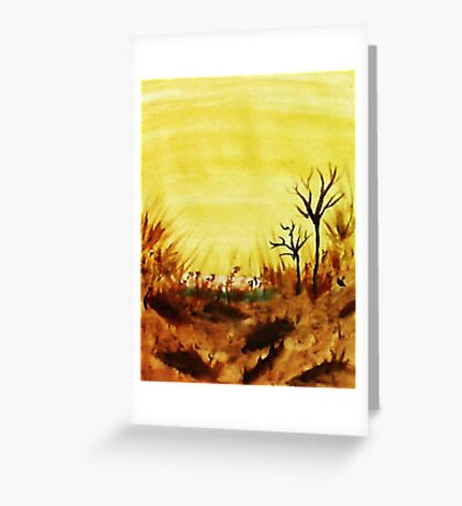 Hot  Summers Day Near the Desert,  Watercolor Greeting Card