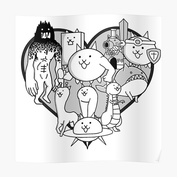Battle Cats Evolved Cats Mural Poster