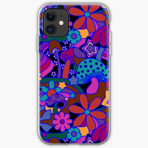 70's Psychedelic Garden in Jeweltone iPhone Soft Case