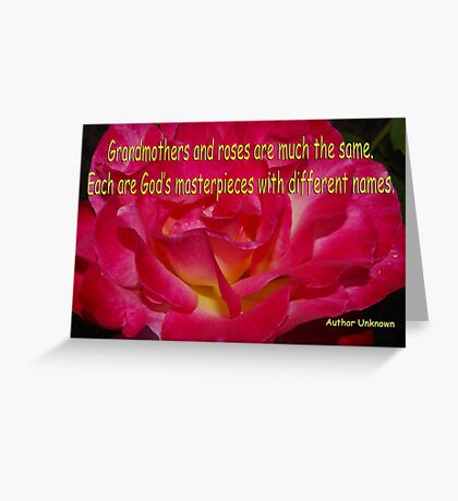 grammas and roses quote card Greeting Card