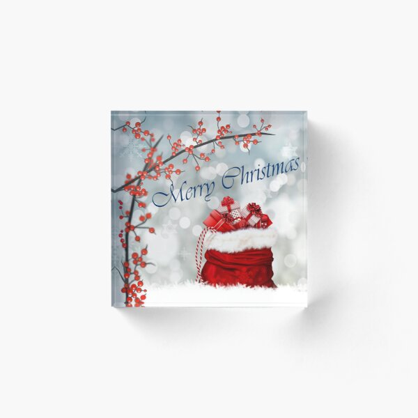 Holly Berries and Santa gift filled Sack Acrylic Block