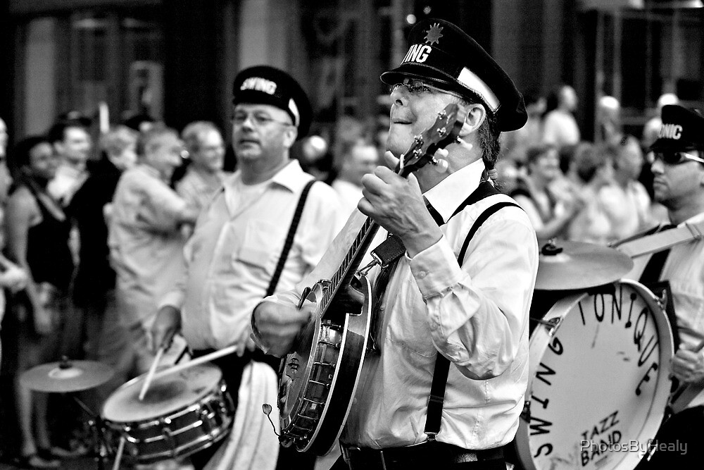 The Banjo  Player - B&W by PhotosByHealy