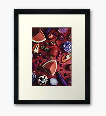 Red and purple food Framed Print