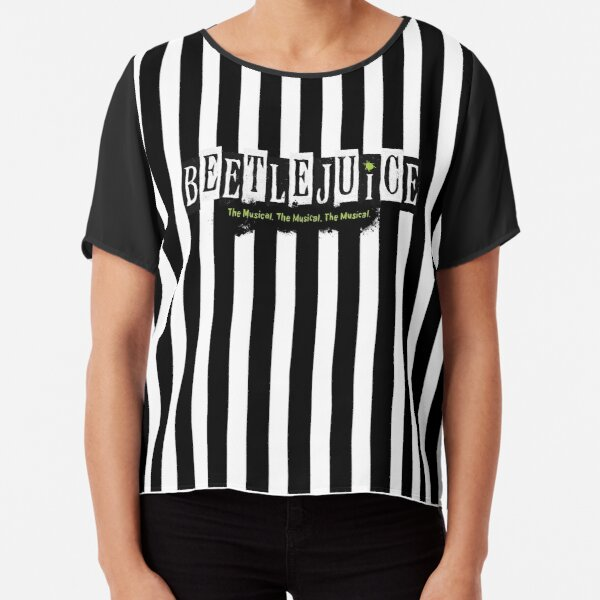 Beetlejuice Striped Musical Broadway Logo  Chiffon Top