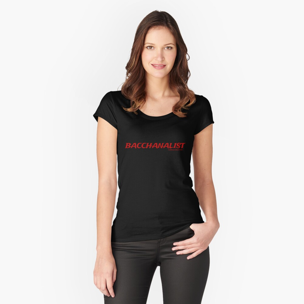 Bacchanalist Caribbean Carnival - Red Font Fitted Scoop T-Shirt