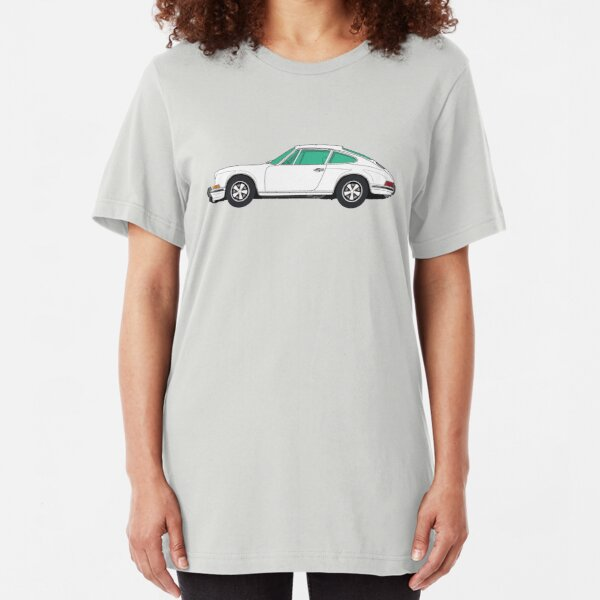White Porsche 911 R (1967) ─ Fan Art Slim Fit T-Shirt