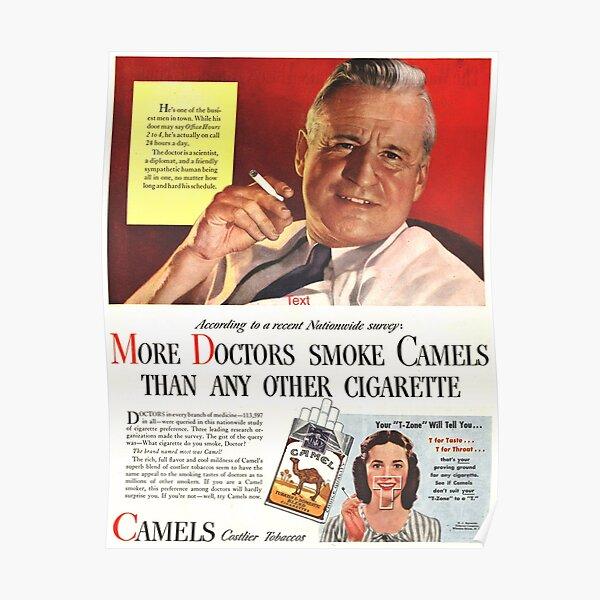 """Camel Cigarette Ad """"Doctors Smoke Camels"""" Poster"""